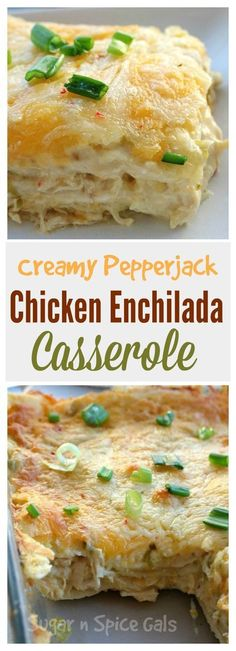 These creamy pepper jack chicken enchiladas are to die for. So cheesy and so creamy. ] INGREDIENTS 4 chicken breasts, … These creamy pepper jack chicken enchiladas are to die for. So cheesy and so creamy. Comida Latina, Mexican Dishes, Mexican Recipes, Vegetarian Mexican, Mexican Potluck, Mexican Slaw, Mexican Easy, Mexican Entrees, Mexican Tamales
