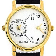 Gents Ladies Unisex Gold Tone Dual Time Black Leather Strap Watch GOTW89a