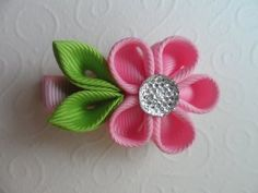 ▶ ▶ Red hair band kanzashi / Flowers kanzashi tutorial - YouTube
