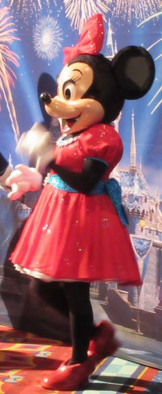 Minnie Mouse sparkles and shines in her beautiful red dress for the Disneyland 60th Anniversary Diamond Celebration.   #Disneyland60