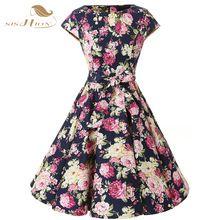 SISHION Plus Size Floral Dress Women Summer Swing Casual Party Audrey Hepburn…