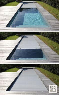 Couverture immergée automatique permettant de sécuriser entièrement la piscine. Les différents coloris se fondent discrètement avec la terrasse.