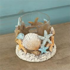 A beachy candle holder