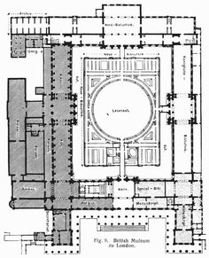 19TH CENTURY, Neo-Classicism, England - Robert Smirke (1780-1867):Plan, Brithish Museum, 1823-46, London.