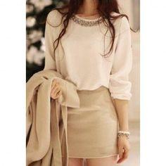 $11.25 Refreshing Scoop Neck Rhinestone Embellished Long Sleeves Slimming White Dacron Blouse For Women
