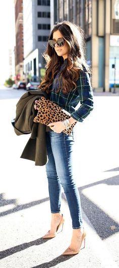 #fall #fashion / tartan shirt + denim
