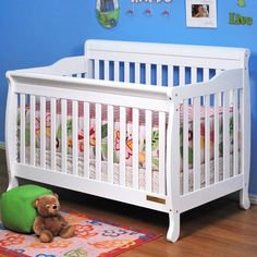 AFG Athena Alice 4 in 1 Convertible Sleigh Crib in White FREE SHIPPING