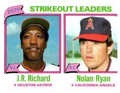 1980 Topps Nolan Ryan J.R. Richard Strikeout Leaders Angels Astros