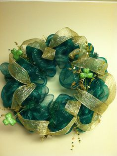 St Patrick's Day deco mesh wreath by WreathsbyJodiSue on Etsy, $45.00
