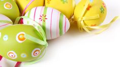 bow, easter, multicolored, eggs, pattern, holiday