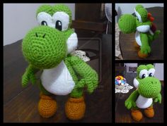 Yoshi. Crochet. I wish there was a pattern.  Anyone want to make this for me?