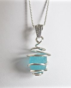 Bright aqua sea glass necklace  aqua ocean by Jewelrybeyondthesea