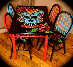 Day of The Dead dinette set. Hand painted dias by TrashybyAlisha
