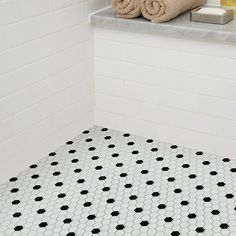 Shaw Floors Sophisticated x Porcelain Mosaic Tile in White/Black Pretty Bathrooms, Mosaic Tiles, Bathroom Renovation, Flooring, Tile Floor, Shaw Floors, Porcelain Mosaic Tile, Black And White Tiles, White Hexagon Tiles