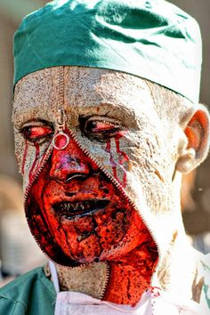 Zipper face scary Halloween makeup