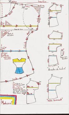 molde de blusa de tres bloques colores manga enteriza #blusa #moda #moldes…