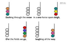teaching chords Jingle Bells Color Chord-inated for Boomwhackers or Bells Drum Lessons, Music Lessons, Guitar Lessons, Guitar Tips, Piano Lessons, Christmas Concert, Christmas Music, Teaching Music, Teaching Tools