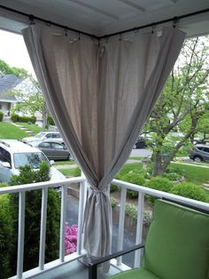 Canvas drop cloth curtains for screen porch, block out afternoon sun...