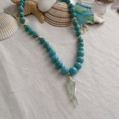#seaglass & #turquoise bead necklace by WaterSpirits Creations #ocean #shells