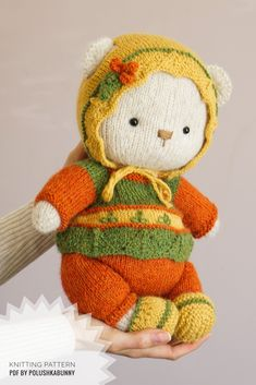 Knitted Cozy Teddy Bear Clothes #knitting #pattern #teddy #bear #doll #clothes #outfit #animal #diy Teddy Bear Clothes, Teddy Bear Toys, Teddy Bears, Teddy Bear Knitting Pattern, Knitting Patterns, Sewing Patterns, Bear Doll, Sewing Toys, Knitted Dolls