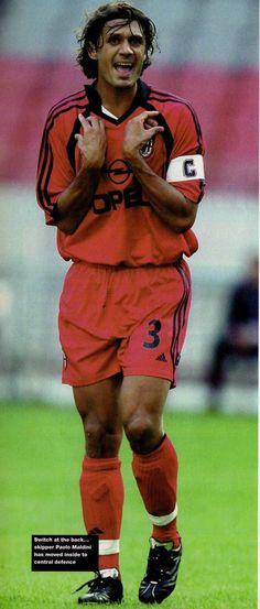 Paolo Maldini of AC Milan in Best Football Players, Soccer Players, Paolo Maldini, Legends Football, Ac Milan, Memes, Sportswear, Hero, Collection