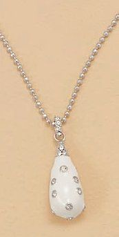 White Enamel/Rhodium Plated Sterling Pendant ONLY, 2mm Cubic Zirconia CZ, 1-3/8 in Silver Messages. $54.99. Save 31% Off!