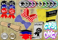 Graduation Theme Party Photo Props  Includes by LMPhotoProps, $4.00
