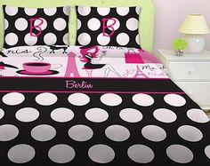 polka dots, damask, stripes and chevron twin comforter set | ... Bedding, Paris Theme Bedding, Polka Dot Bedding for Kids, Personalized