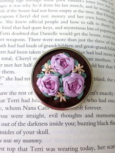Pink and Purple Hand Embroidered Cluster of roses pin, handmade by BeanTown Embroidery
