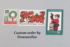 Reserved Custom Order for Analise. Unused Vintage US Postage Stamps for mailing Christmas postcards by TreasureFox on Etsy