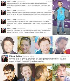 Misha twitter gems- It's so sad when you can be arrested just for playing dress-up with stolen corpses!<<<<I find the bear trap hilarious