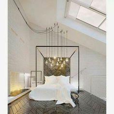 ♡ Bedroom light lighting white wood floor
