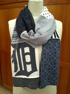 UPCYCLED t-shirt scarf... DETROIT TIGERS... baseball... World Series... blue and white... D