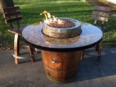 Barril de vino Gas chimenea y mesa de Patio