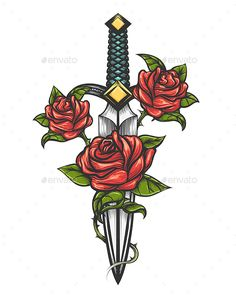 Dagger Knife and Rose Flowers Drawn in Tattoo Style by Olena1983 Traditional tattoo with rose flowers and dagger knife. Vector illustration isolated. Colorful Tattoo in engraving style for your u