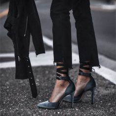 raw hem denim, velvet pumps, black suede jacket