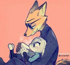 Soo cute! Judy's drinking hot chocolate or something while Nick's holding her in his arms and hugging!