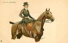 woman in hunting attire rides side-saddle on brown horse, equestrian postcard