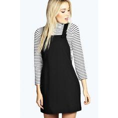 Boohoo Leandra Woven Pinafore Dress ($22) ❤ liked on Polyvore featuring dresses, black, racerback dress, boohoo dresses, braid dress, layered dress and button dress