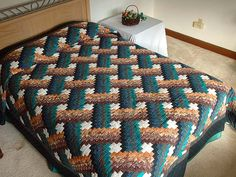 Teals and Tans Weavers Fever Quilt Photo 1