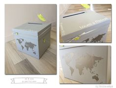 Urne cadeau thème voyage vert anis et gris - Jolies créations, le blog des Faits à Façon