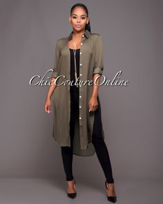 Chic Couture Online - Abeni Olive Green Floral Back Shirt-Dress, $50.00 (http://www.chiccoutureonline.com/abeni-olive-green-floral-back-shirt-dress/)