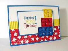 Marelle Taylor Stampin' Up! Handy instructions for making the Lego bricks. Lego Birthday Cards, Birthday Cards For Boys, Bday Cards, Birthday Kids, Male Birthday, Happy Birthday, Scrapbooking, Scrapbook Cards, Legos