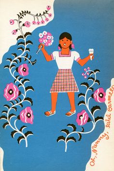 Illustration for The Hungry Moon: Mexican Nursery Tales (1946) by the Guatemalan artist Carlos Mérida (1891–1984).