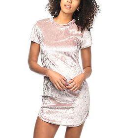 Lunachix Karrie Pink Crushed Velvet Mock Neck Dress