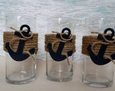 Set of 3 Nautical Vase Centerpieces - Anchor Navy Boating Boat Coastal Wedding. Set of 3 Nautical Coastal Wedding Centerpieces, Nautical Centerpiece, Wedding Table Decorations, Baby Shower Centerpieces, Anchor Decorations, Diy Centerpieces, Cincinnati, Baby Shower Marinero, Anchor Baby Showers