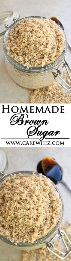 Learn to make HOMEMADE BROWN SUGAR with just 2 basic ingredients that you already have in your kitchen- molasses and granulated sugar! From cakewhiz.com