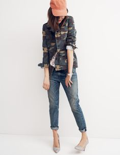 Madewell Outbound jacket in camo, cropped blouse in floral woodcut and the Rivet & Thread selvedge Boyjean®.