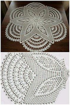 This Beautiful Big White Doily This Pin was discovered by lah Crochet And Knitting Well-designed pineapple lace doily from Magic Crochet magazine Free Crochet Doily Patterns, Crochet Doily Diagram, Crochet Motifs, Thread Crochet, Crochet Stitches, Crochet Table Topper, Crochet Table Runner, Crochet Tablecloth, Crochet Carpet