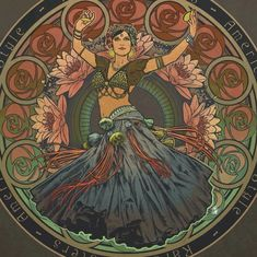 Tribal performance before meal serving! Art Nouveau, Art Deco, Illustrations, Illustration Art, Alphonse Mucha Art, Dancing Drawings, Tribal Belly Dance, Witch Art, Tribal Fusion